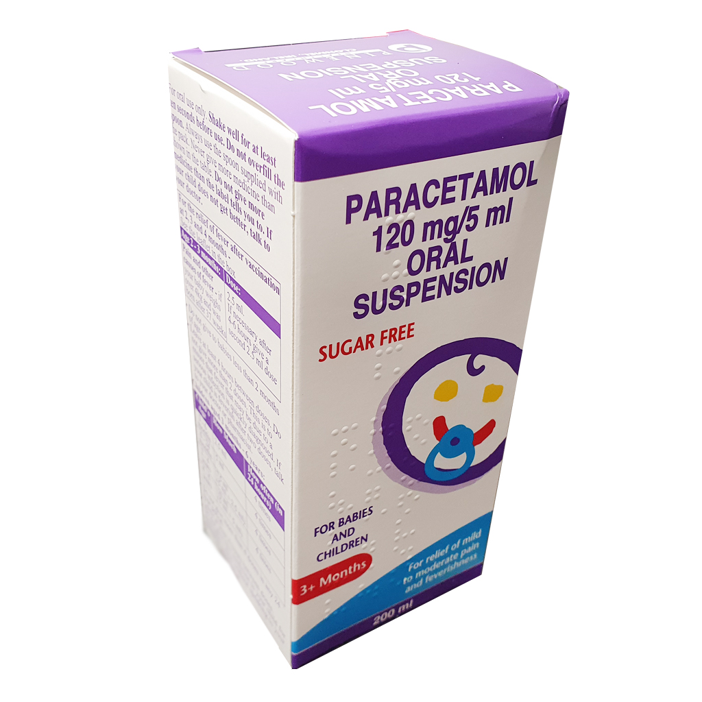 Paracetamol 120mg/5ml Sugar Free suspension 200ml - Pain Relief