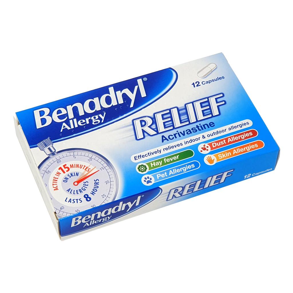 Benadryl allergy relief capsules Acrivastine 8mg - Allergy and OTC Hay Fever