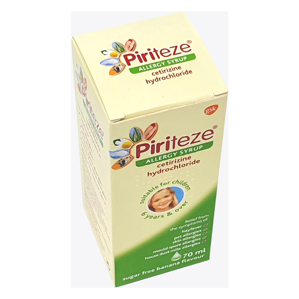 Piriteze Syrup 70ml (Cetirizene Hydrochloride 1mg) - Allergy and OTC Hay Fever