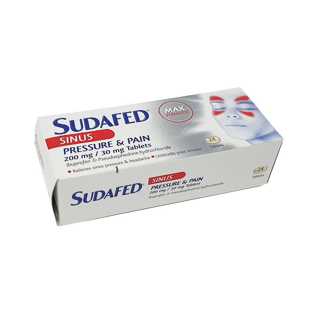 Expires End September 2021 - Sudafed Sinus Pressure and Pain Tablets 24tabs - Special Offers